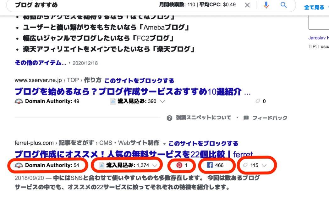 検索結果画面でページに表示されるサイトの分析ができる