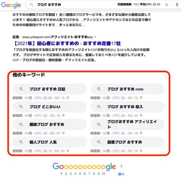 検索結果下部にも関連キーワードとSEO分析が表示される